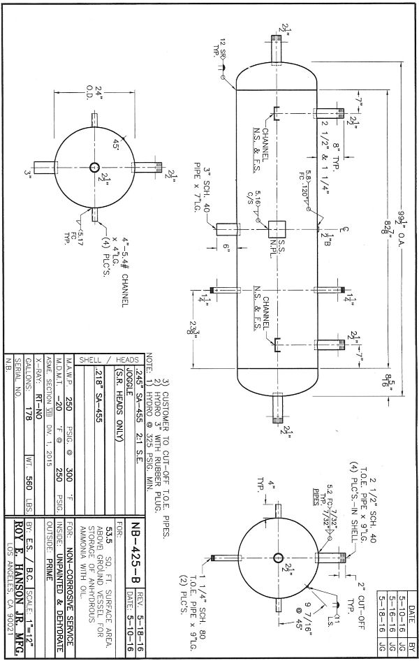 Ammonia Refrigeration Tank Anhydrous Ammonia Tank Nb425b