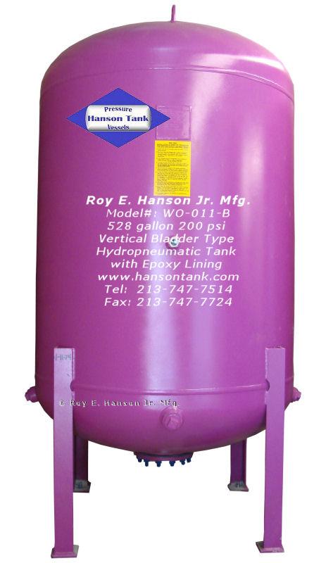 Asme Bladder Pressure Vessels 528 Gallon Vertical Water