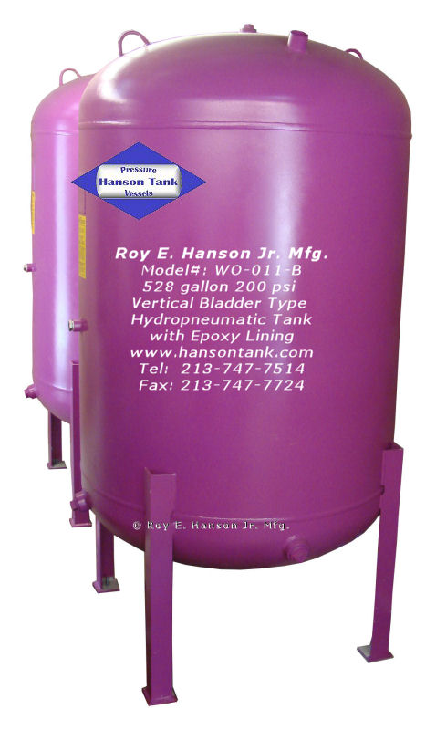 Asme Bladder Pressure Vessels 528 Gallon Vertical Water
