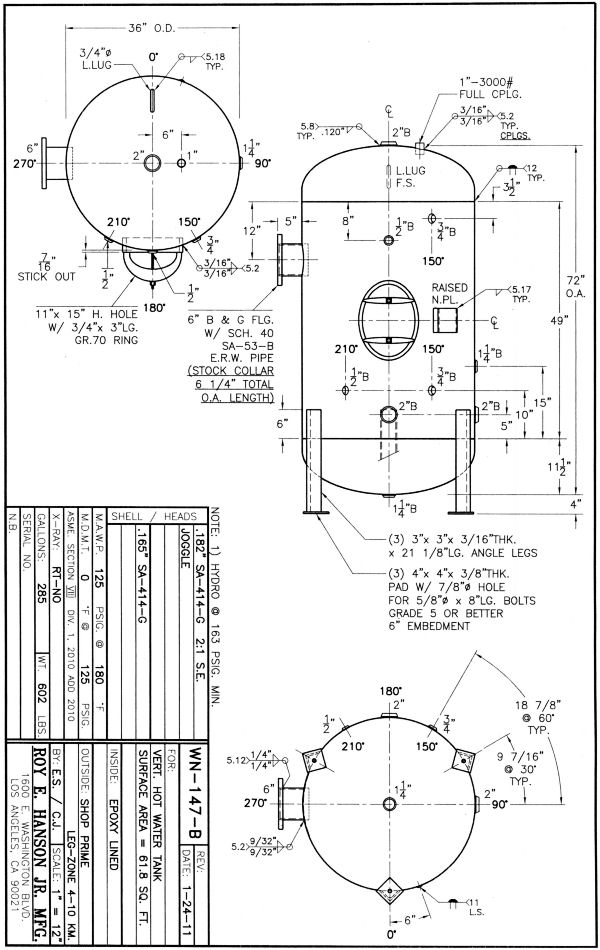 Hot Water Generators - Hanson Tank Asme Code Pressure Vessel Mfg