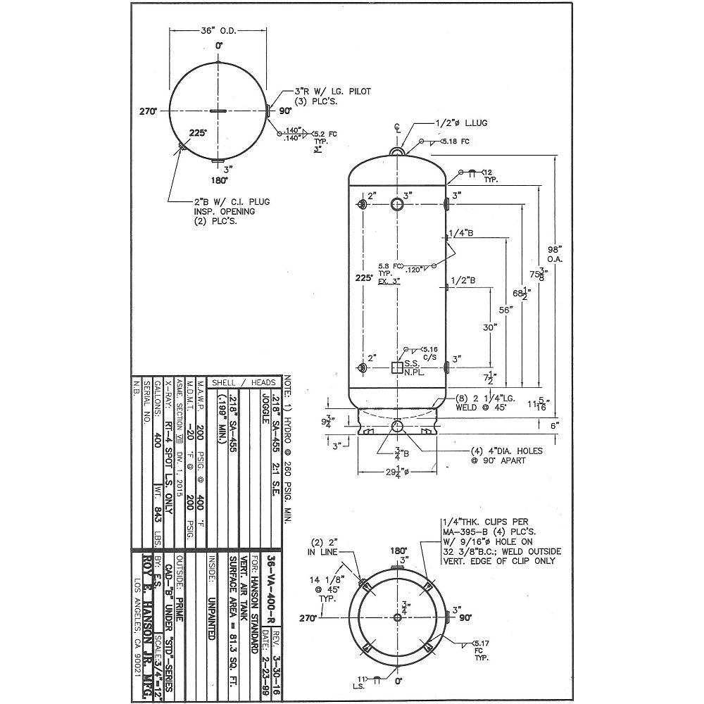 36VA400R - Hanson Tank Asme Code Pressure Vessel Mfg