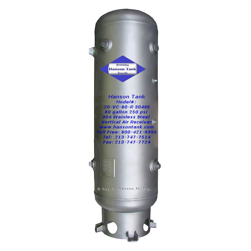 20-VC-80-R-304SS 80 Gallon Stainless Steel Air Receiver