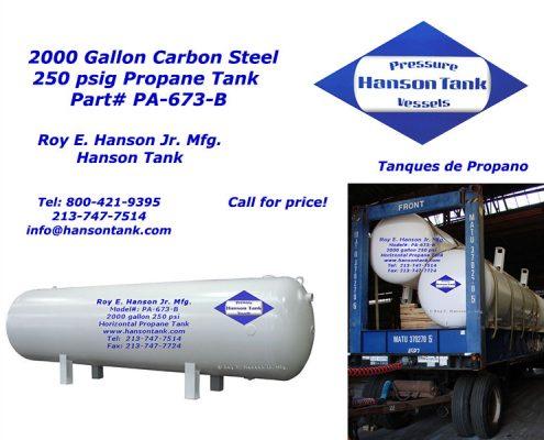 pa673b 2000 gallon propane tank