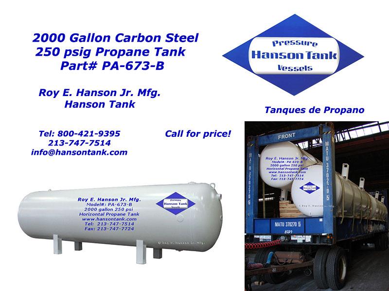 PA-673-B 250 psig Asme Horizontal 2000 gallon Propane Tanks