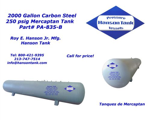 pa835b 2000 gallon mercaptan tank
