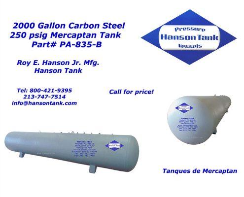 pa835b 2000 gallon mercaptan tank