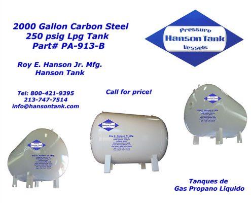 pa913b 2000 gallon lpg tank
