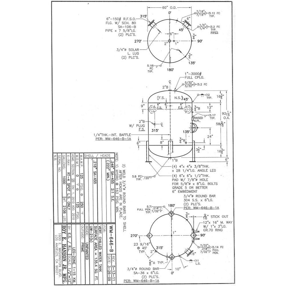 WM646B 1000 Gallon Vertical Chilled Water Tank - Hanson Tank Asme