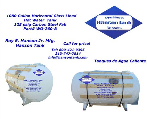 wo-260-b asme hot water tank, r-16 insulation
