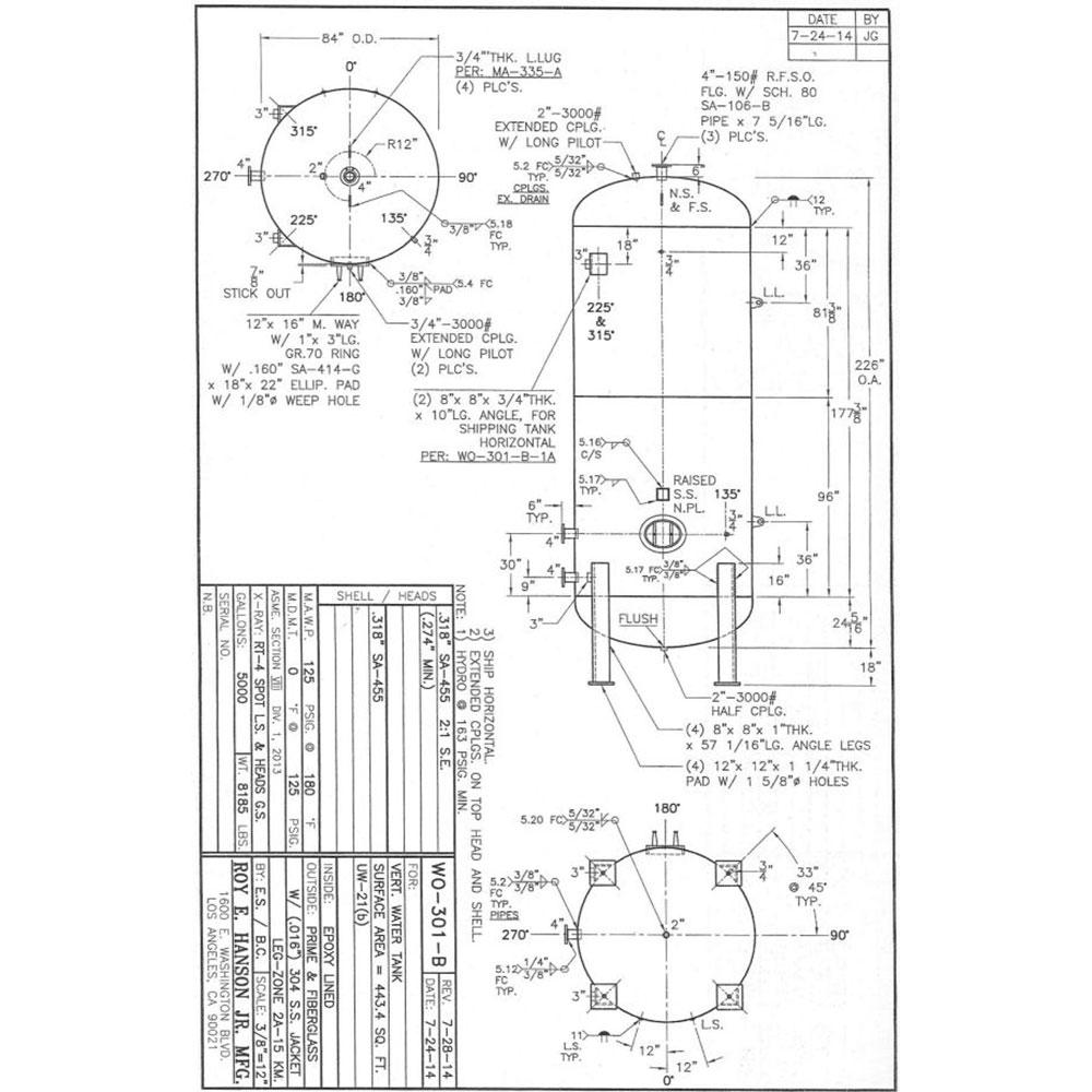 WO301B 5000 Gallon Epoxy Lined Water Tank - Hanson Tank Asme Code