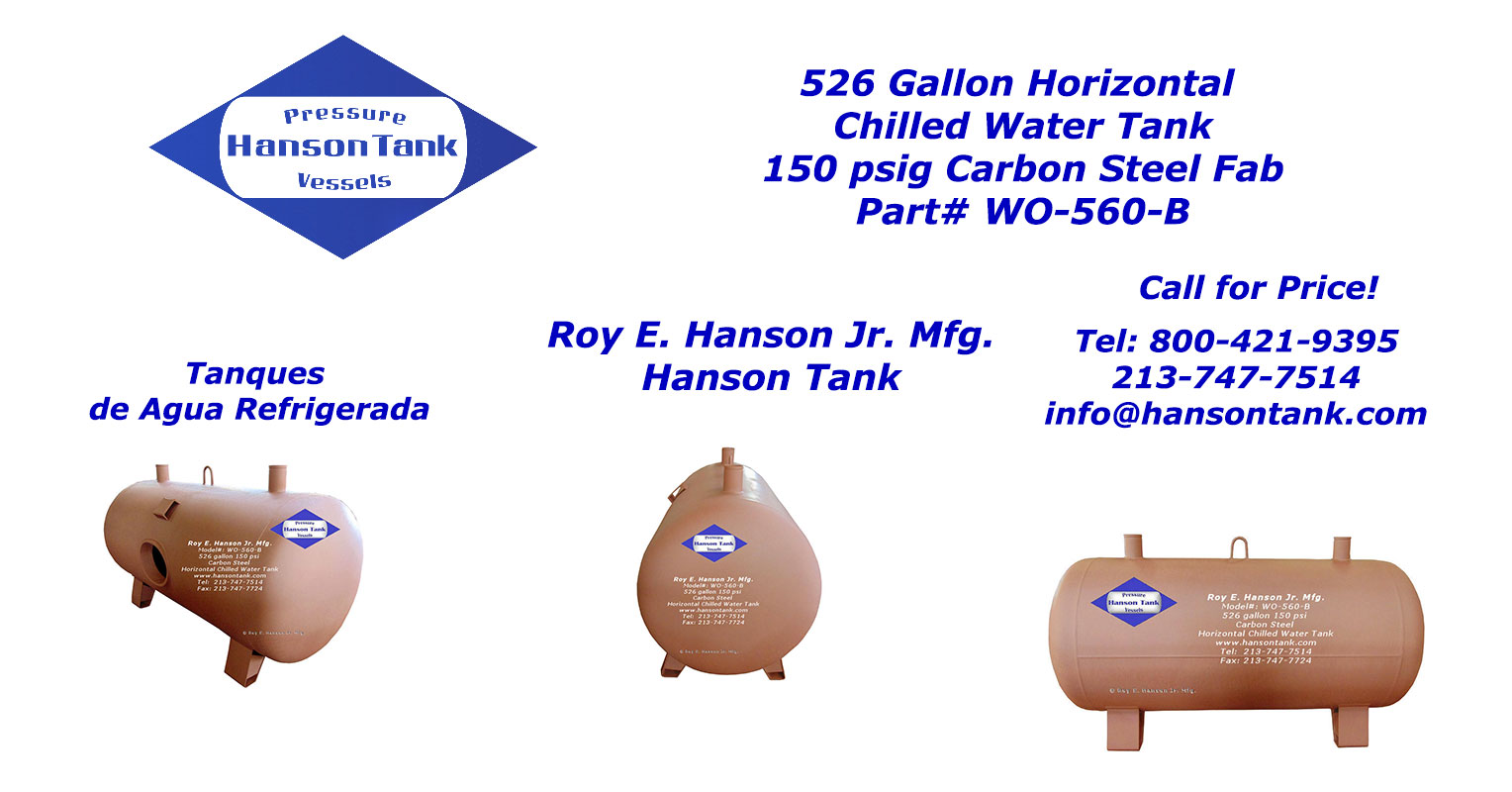 WO-560-B 150 psig horizontal chilled water tank