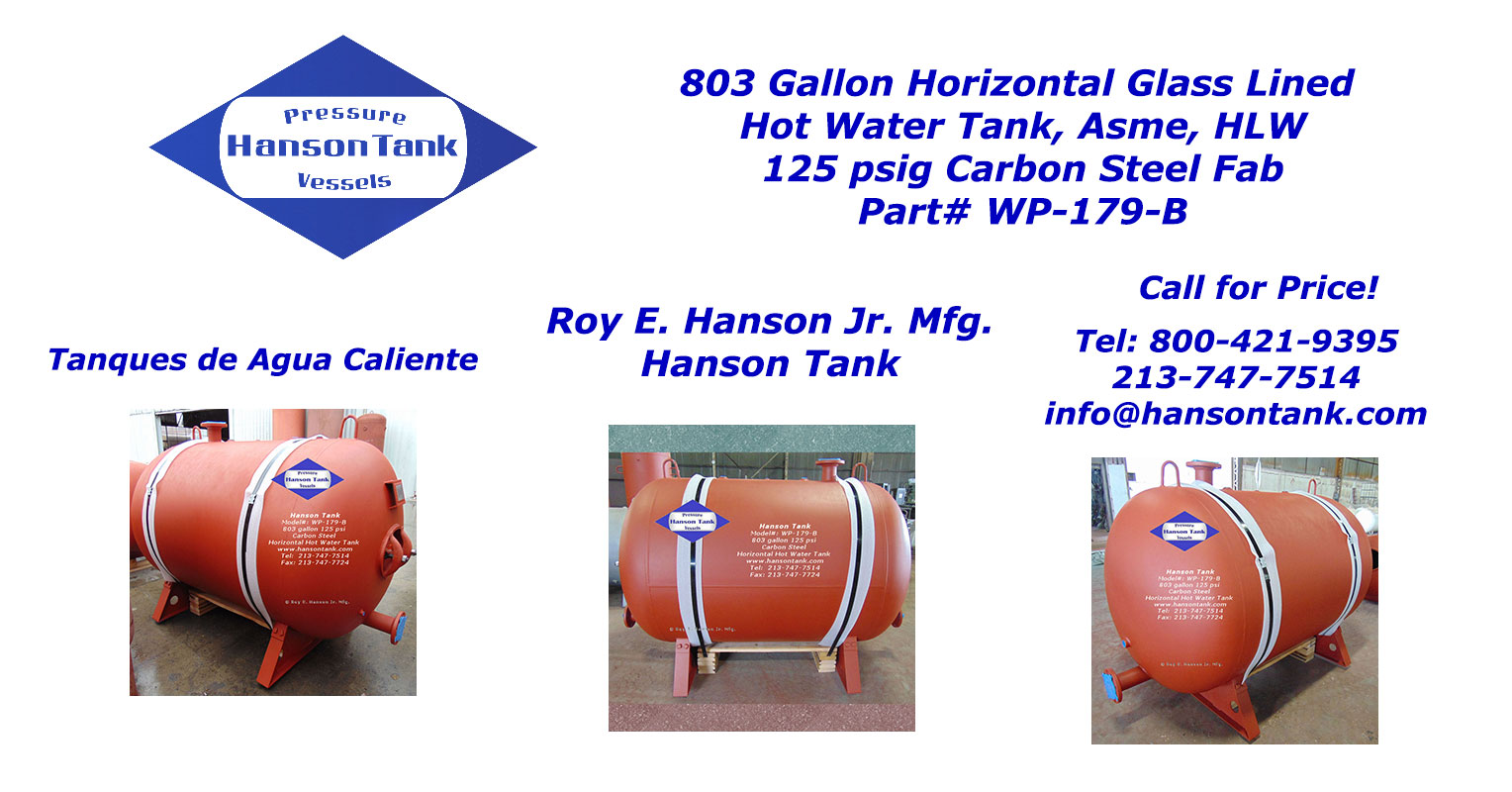 WP-179-B horizontal hot water tank