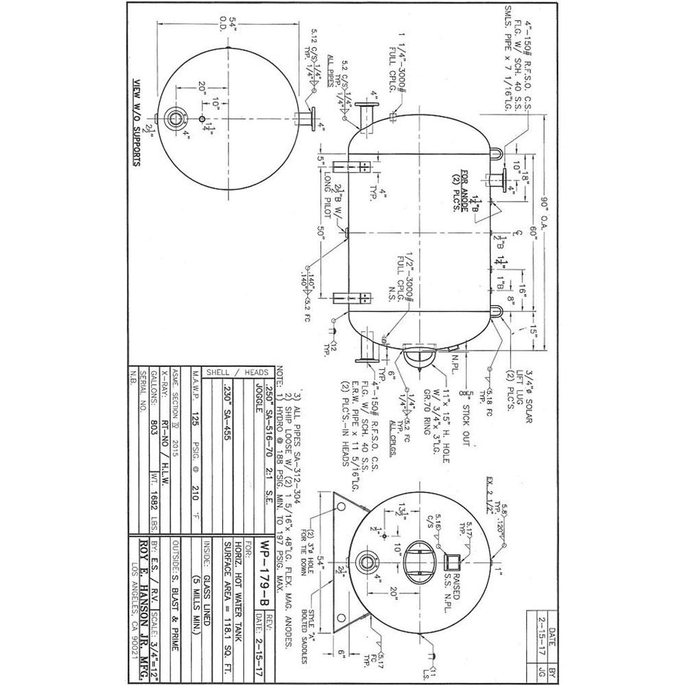 wp-179-b horizontal hot water tank