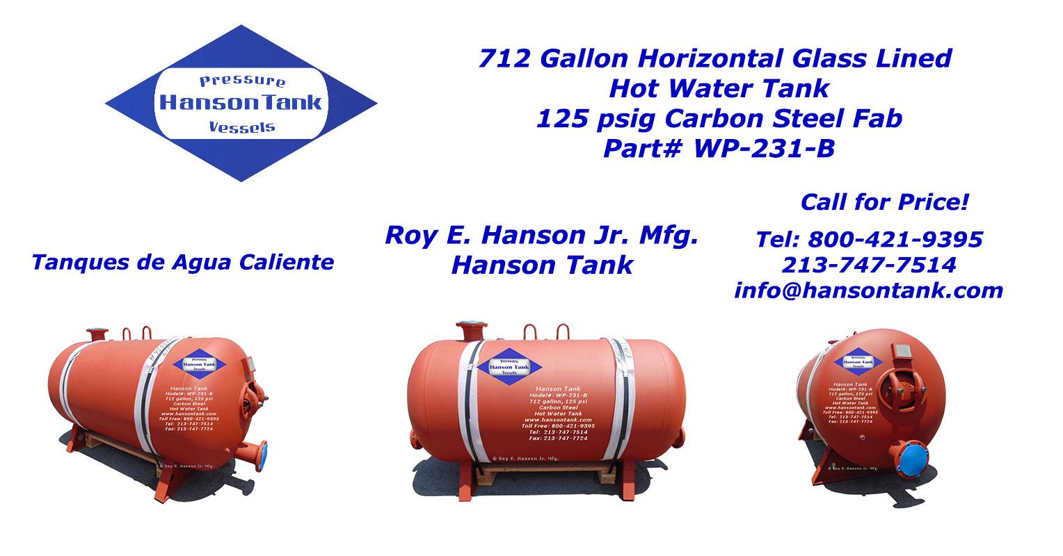 WP-231-B horizontal hot water tank