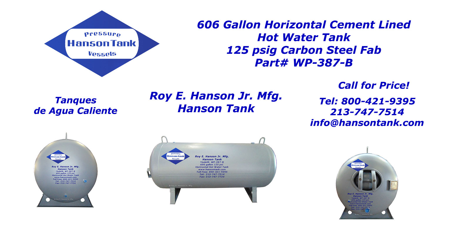 WP387B horizontal cement lined tank