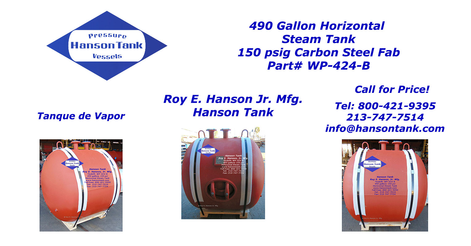 WP424B 490 Gallon Steam Tank