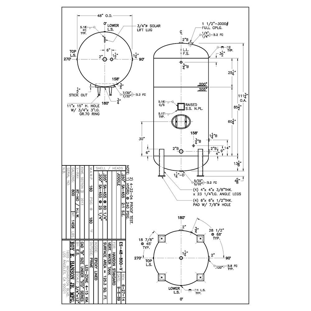 ES-48-800-V 800 gallon vertical hot water tank