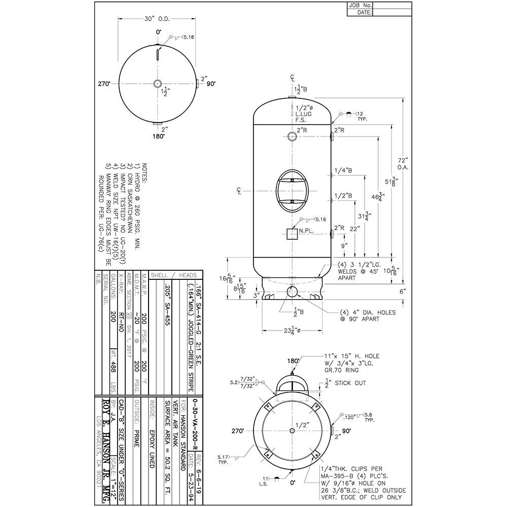 0-30-VA-200-R epoxy lined air receiver