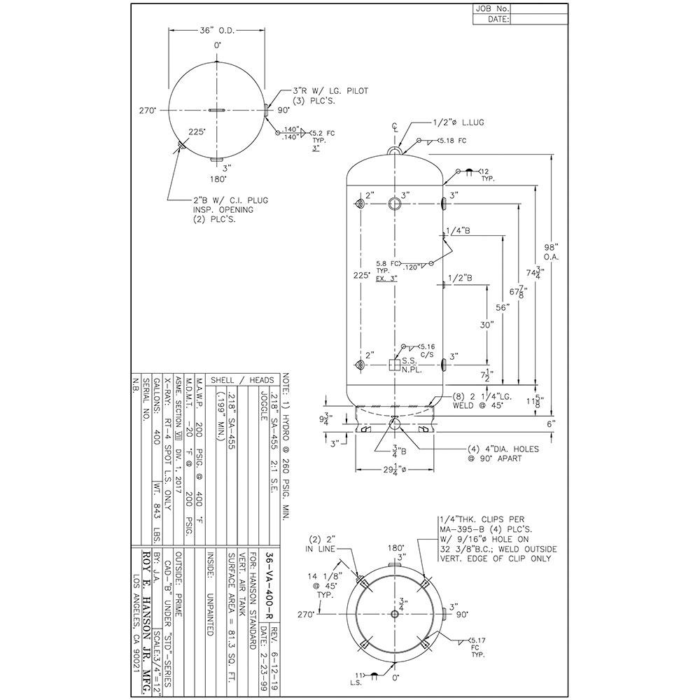 36-VA-400-R unlined air receiver
