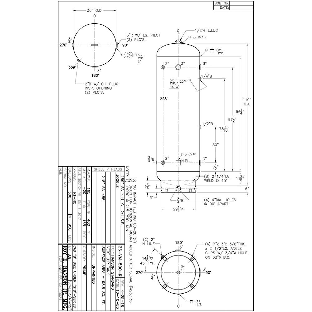 36-VM-500-R unlined air receiver tank