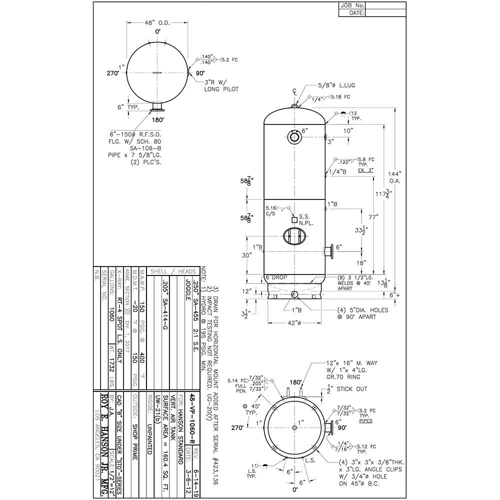 48-VP-1060-R 1060 gallon air receiver tank