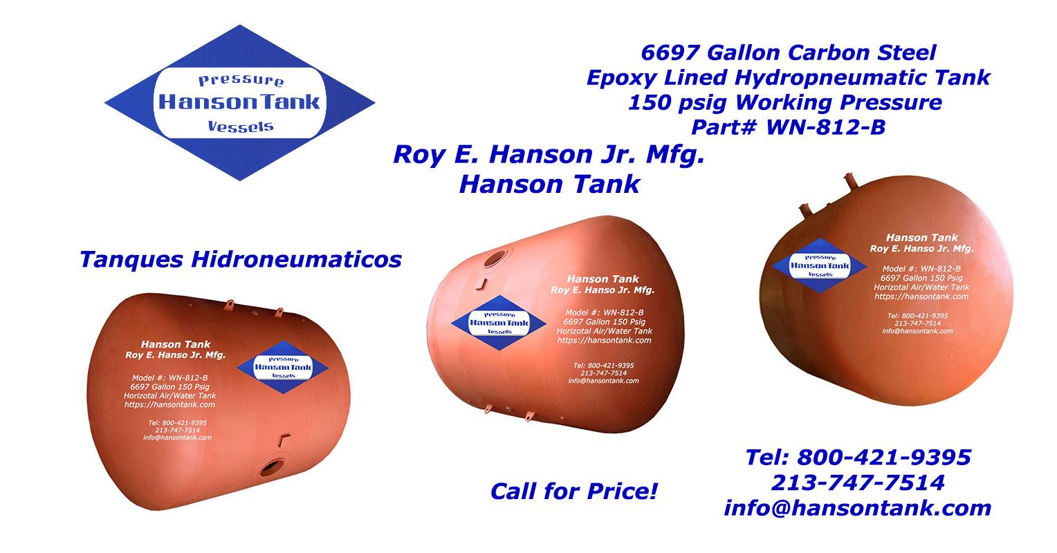 WN-812-B horizontal epoxy lined air-water tank