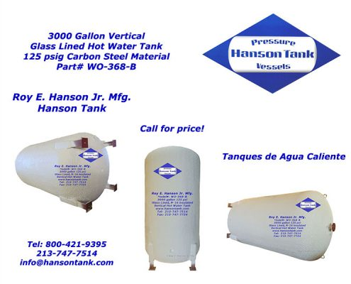 3000 gallon hot water tanks