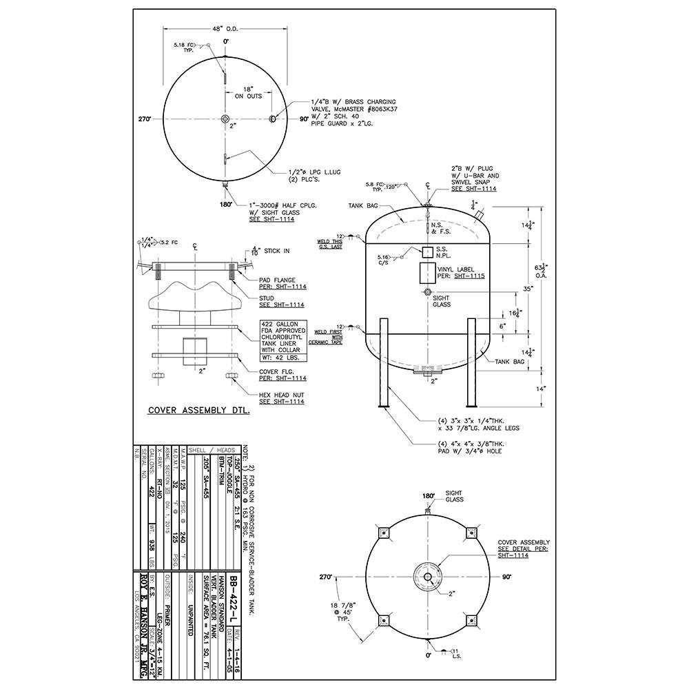 BB-422-L 422 gallon bladder tank