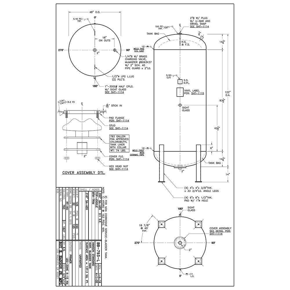 BB-793-L 793 gallon bladder tank