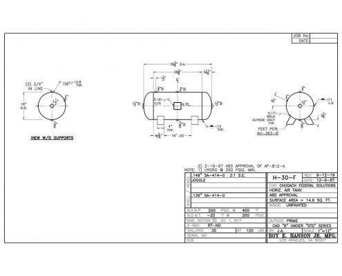 H-30-F 30 gallon Horizontal 200 psig compressed air tank