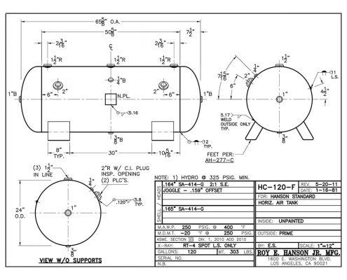 hc-120-f 120 gallon 250 psig horizontal compressor tank