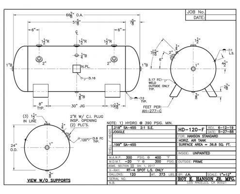 hd-120-f 120 gallon horizontal compressed air tank