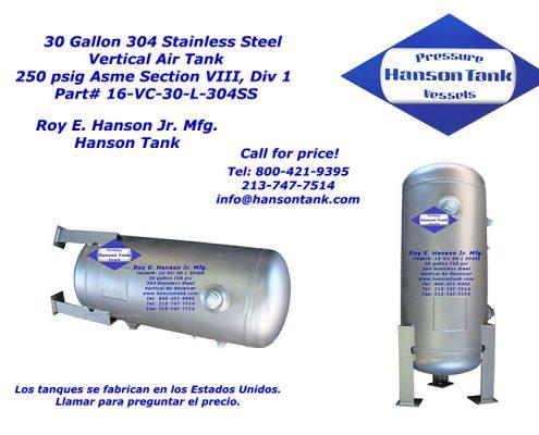 16vc30l-304ss 30 gallon air tank