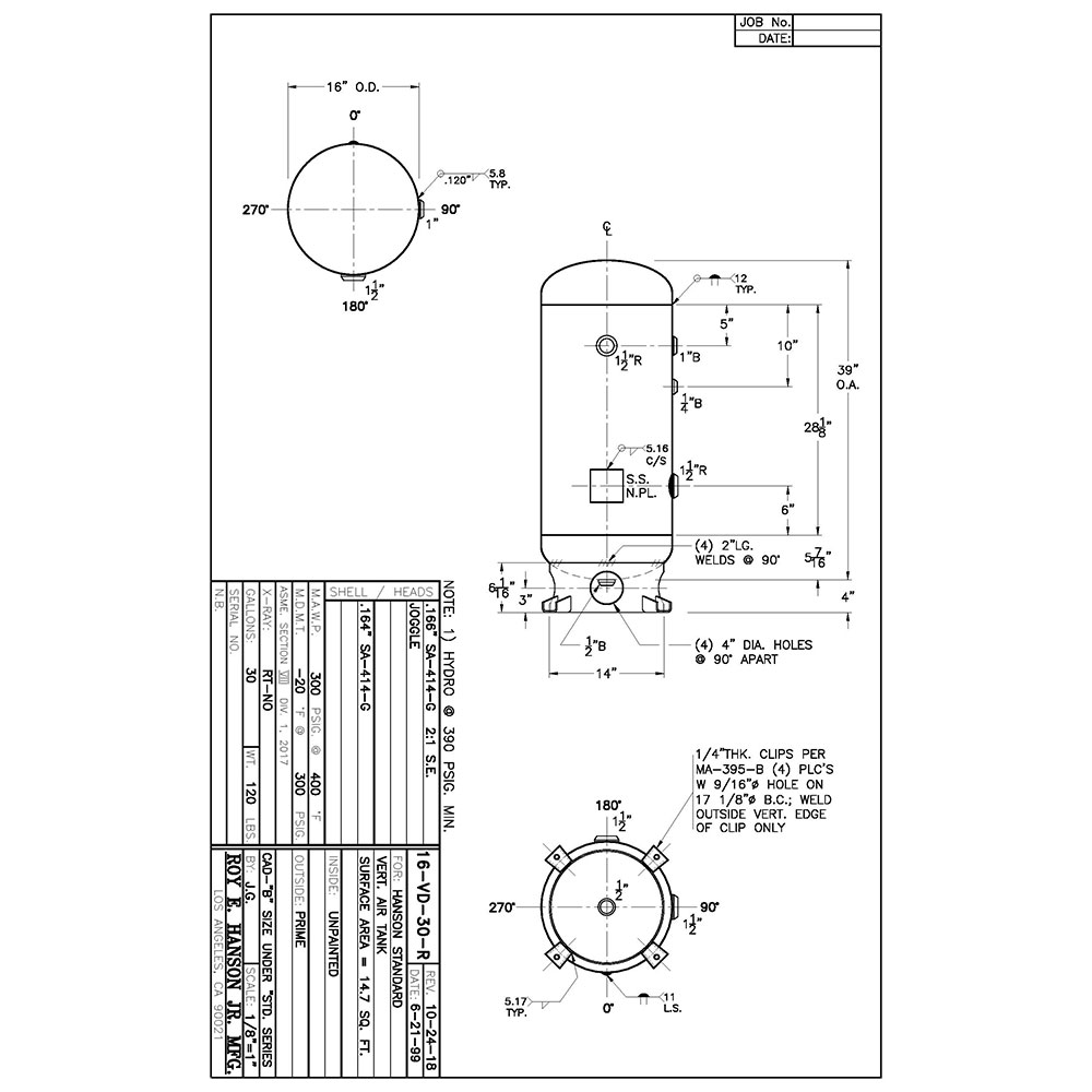 16-VD-30-R Tanque receptor de aire de código Asme