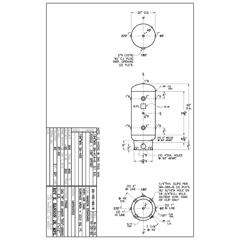 20-VD-60-R Receptor de aire con código Asme Envío a México