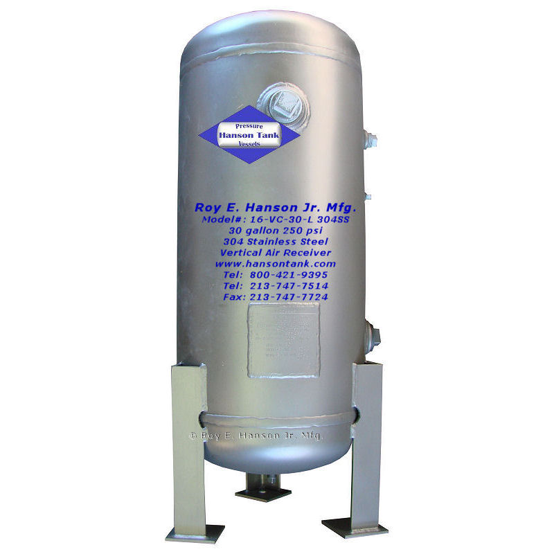 16vc30l-304ss 30 gallon stainless steel tank