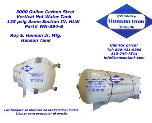 wn-394-b 3000 gallon glass lined tank