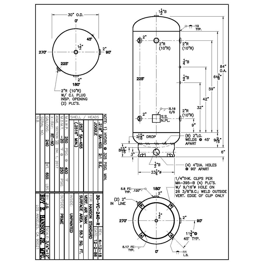 30-VC-240-R 240 gallon vertical air receiver
