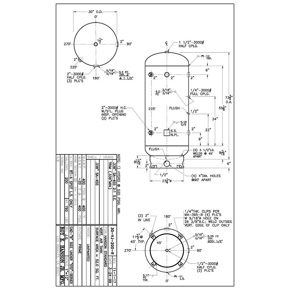30-vj-200-r 400 psig vertical air receiver