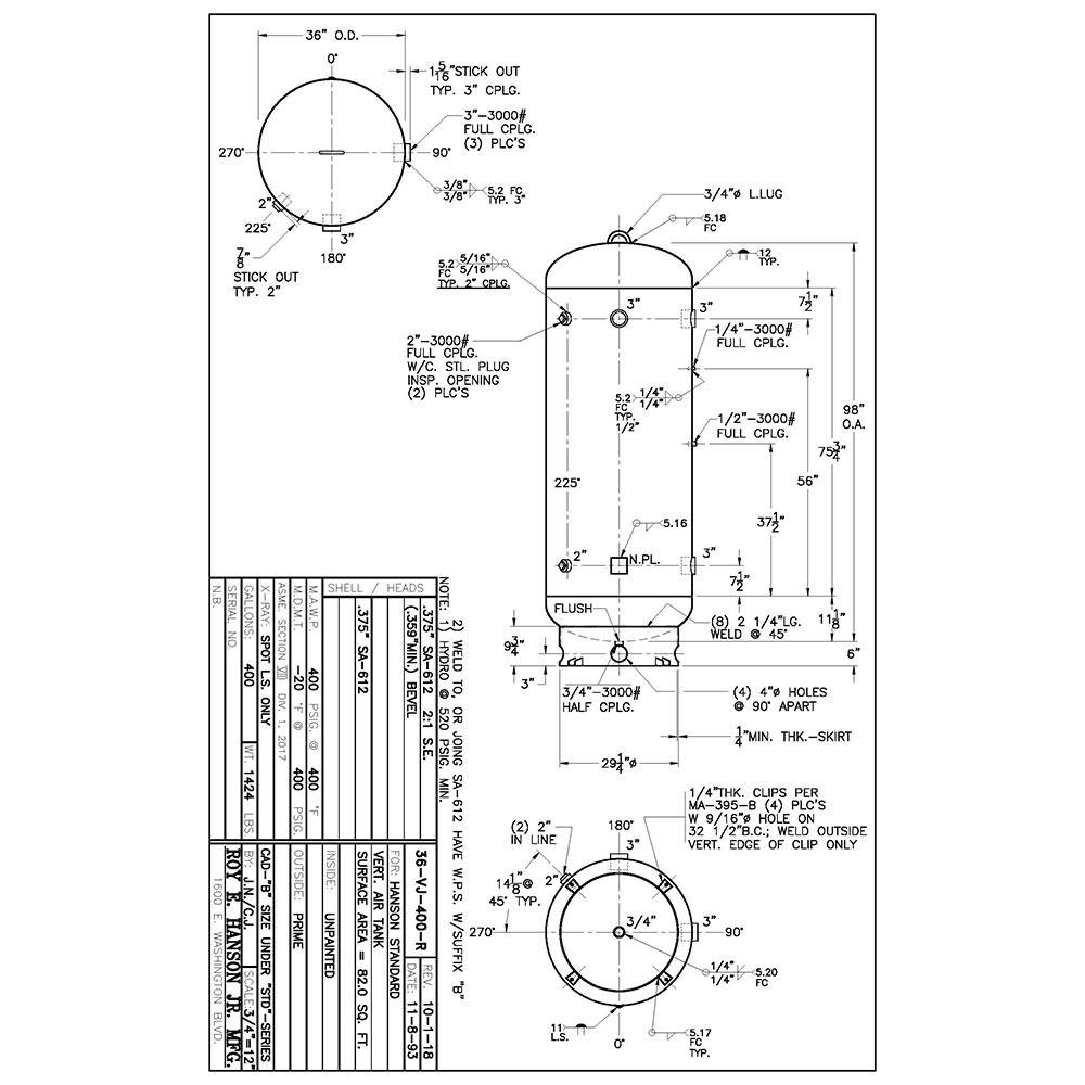 36-vj-400-r 400 gallon vertical air receiver