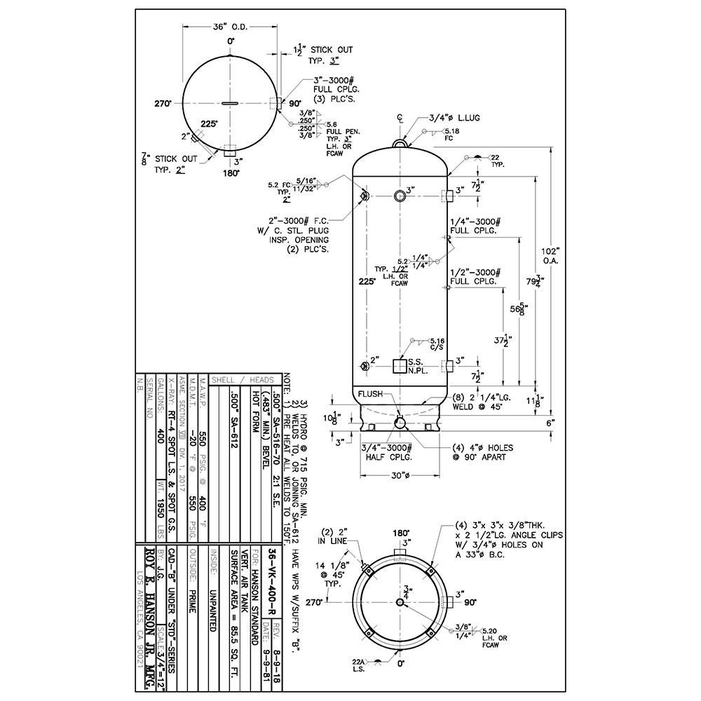 36-vk-400-r 400 gallon vertical air receiver