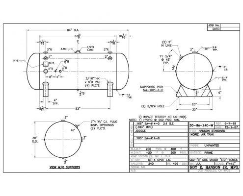 30-ha-240-w horizontal 240 gallon air receiver