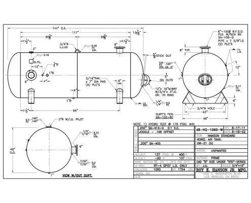 48-HQ-1060-W Horizontal Air Receiver