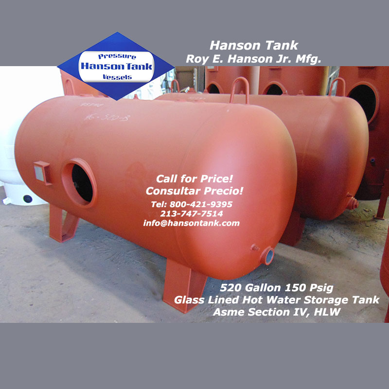 HG-520-B Hanson Glass Lined Hot Water Tank