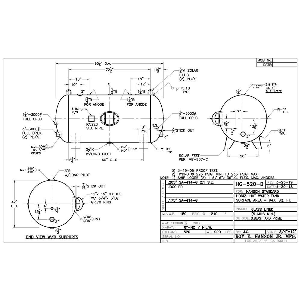 HG-520-B horizontal hot water tank