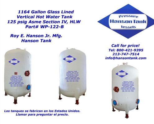 wp122b 1100 gallon hot water tank