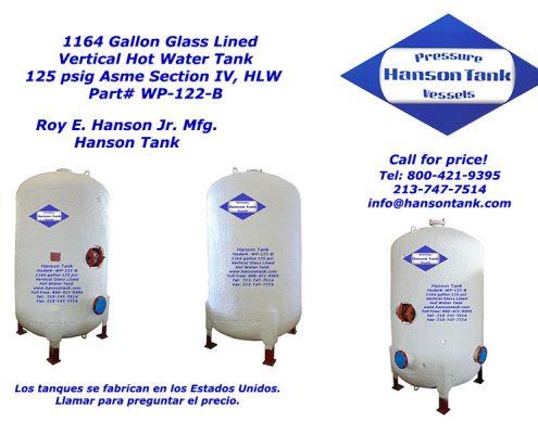 wp122b 1100 gallon hot water tank