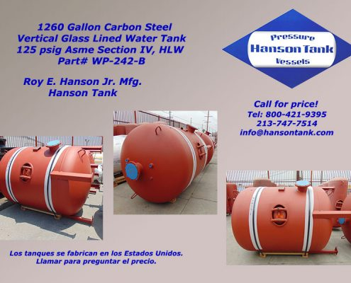 1200 gallon hot water hanson tank wp242b