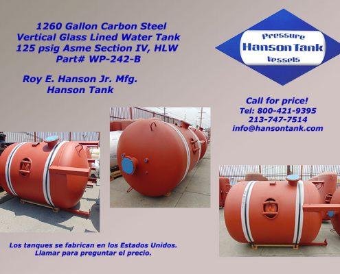 1200 gallon hot water hanson tank wp242b