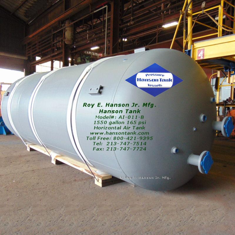 1500 gallon horizontal air storage tank AI-011-B